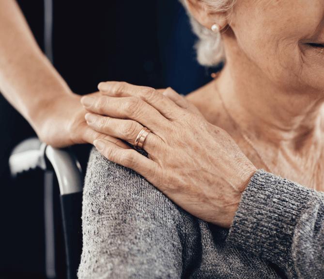 holding nurses hand