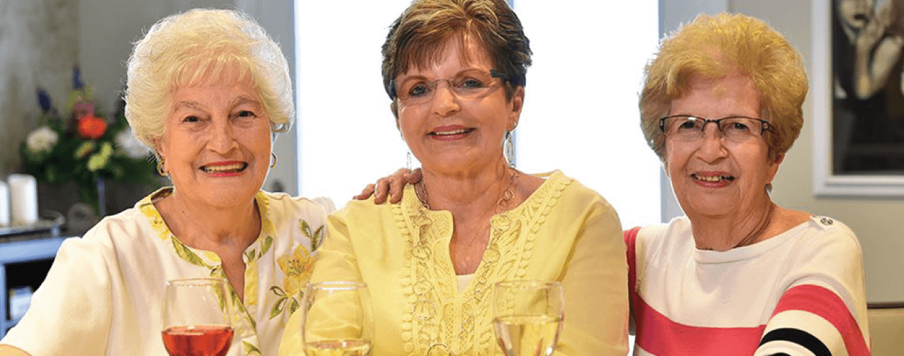 Senior women enjoying wine